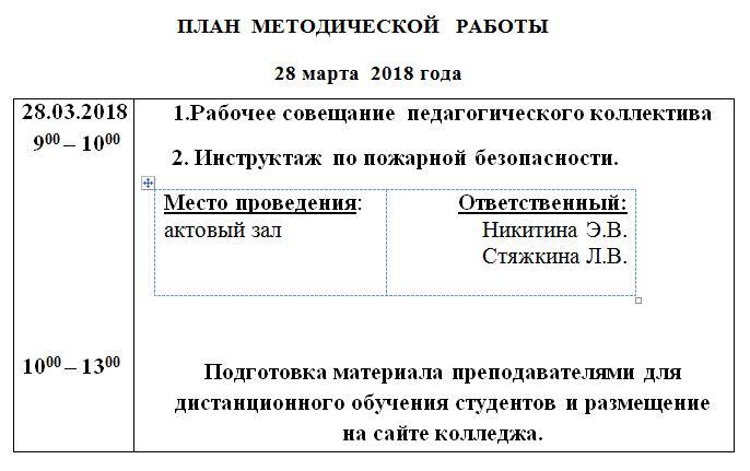 План методической работы 28.03.18